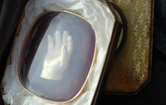 Surrender / The Hand, 2001, Cast white-chocolate, velvet and plastic