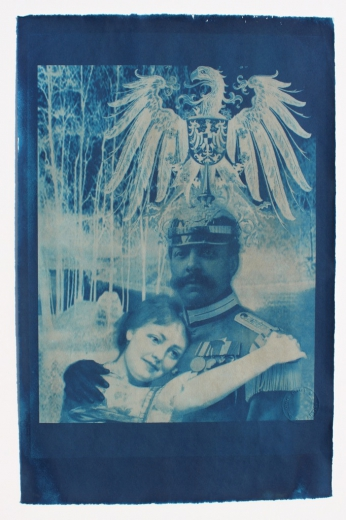 Morgensglück (Morning Happiness), handmade Cyanotype print on Bütten-Ingres paper