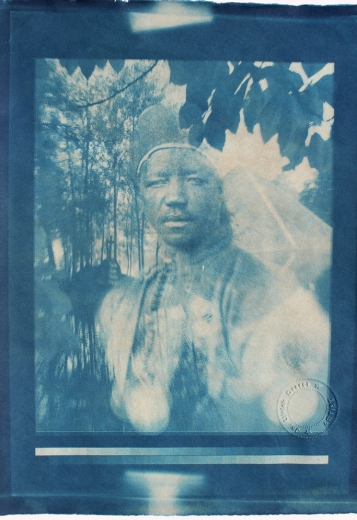 Reflexionsbecken (Reflection Pool), handmade Cyanotype print on Bütten-Ingres paper