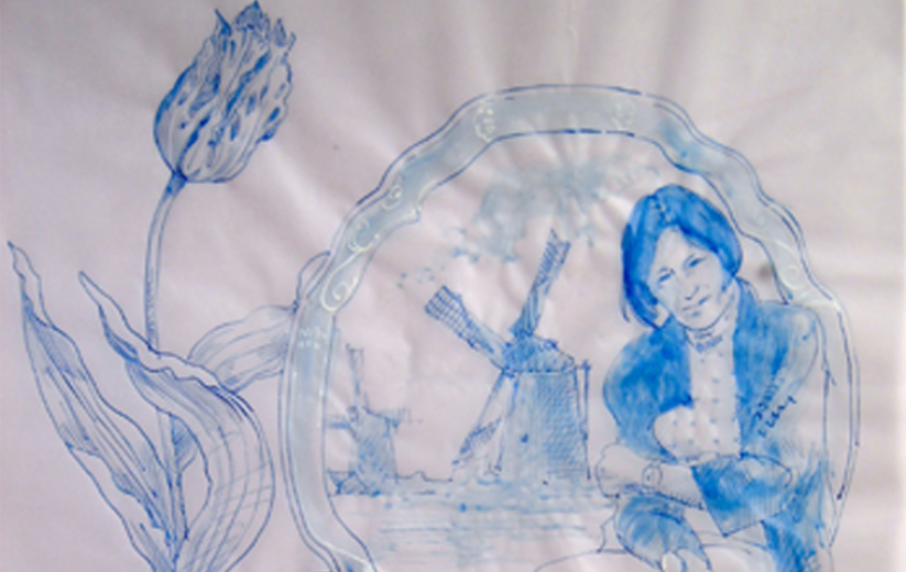 The White Man Project, 2004, Rotterdam NL, (Portraits of participants) Delft-styled ink on transparent vellum paper